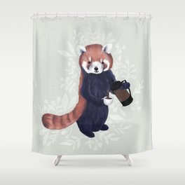 Cute Red Panda and Coffee / French Press and Botanicals Art Print, Green, Orange, Navy  Shower Curtain