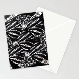 Black&Silver Abstract Bling Pattern  Stationery Cards