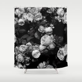 Roses are black and white Shower Curtain