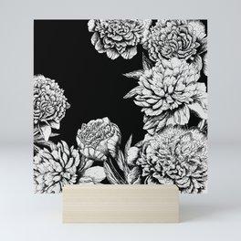 FLOWERS IN BLACK AND WHITE Mini Art Print