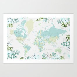 Mint and green floral world map with cities Art Print