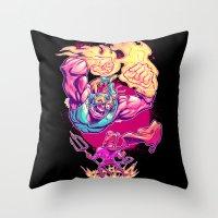 diablo Throw Pillows featuring LUCHADORO VS EL DIABLO by BeastWreck