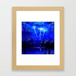 ELEPHANT LIGHTNING AND AFRICAN NIGHTS Framed Art Print