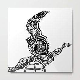 Bird on a Branch - Black and White  Metal Print