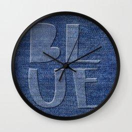 Blue Jeans denim typography Wall Clock