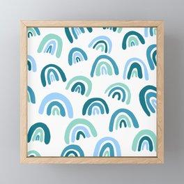 Rainbow Pattern Blue Framed Mini Art Print