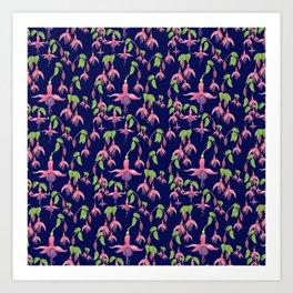 Watercolour Fuchsia Flower Pattern - Navy Art Print