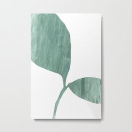 Seedling Leaning Right - Green Botanical Watercolor Painting Metal Print