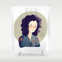 nan lawson Shower Curtains featuring Last Survivor of the Notsromo by Nan Lawson