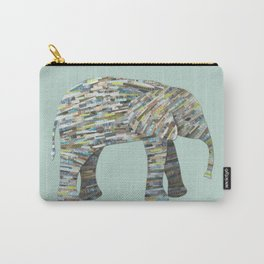 Elephant Paper Collage in Gray, Aqua and Seafoam Carry-All Pouch
