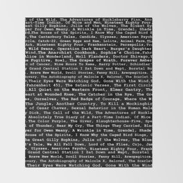 Banned Literature Internationally Print on Black Throw Blanket