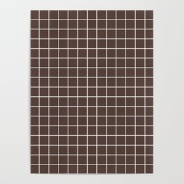 Dark liver (horses) - brown color - White Lines Grid Pattern Poster