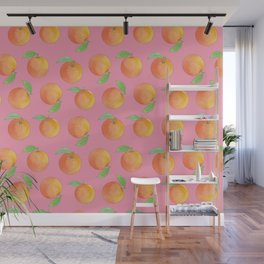 Fresh Oranges Watercolor on Pink Wall Mural