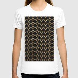 Elegant black faux gold glitter chic quatrefoil vector illustration T-shirt