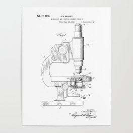 Microscope Vintage Patent Hand Drawing Poster