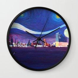 Starry Night in Hamburg   Van Gogh Inspirations in Hamburg Harbour with Elbe Philharmonic Hall Wall Clock