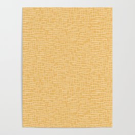 Woven Burlap Texture Seamless Vector Pattern Yellow Poster