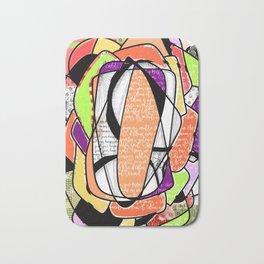 Orange, purple and green digital abstract design Bath Mat