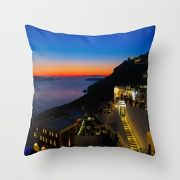 fira sunset-Santorini Throw Pillow