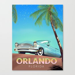 Orlando Florida vintage travel poster, Canvas Print