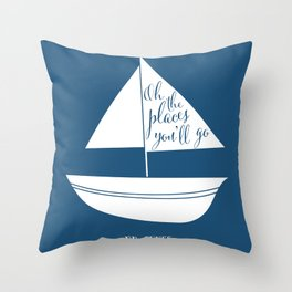 Dr Seuss Oh the Places you'll go navy sail boat Throw Pillow
