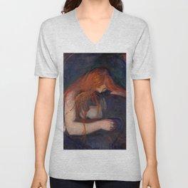 Edvard Munch - Vampire Unisex V-Neck