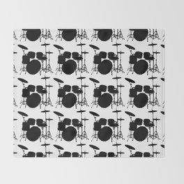 Drumset Pattern (Black on White) Throw Blanket