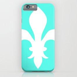 Fleur de Lis (White & Turquoise) iPhone Case