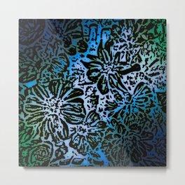 Marigold Lino Cut, Marine Diagonal Gradient Metal Print