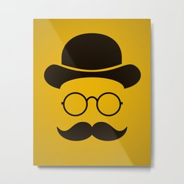 Funny / Minimal vintage face with Moustache & Glasses Metal Print