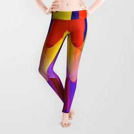Floating veils, colourful fractal abstract Leggings