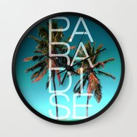 paradise Wall Clocks featuring PARADISE by Chrisb Marquez