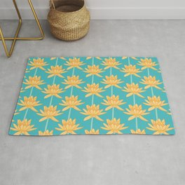 Aquatic Water Lily Pattern Rug