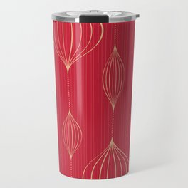 Abstract Red Gold Geometric Striped Pattern Travel Mug