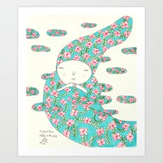 Sky, flower and wind Art Print
