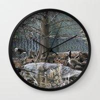 ducks Wall Clocks featuring Ducks by Italo Martins