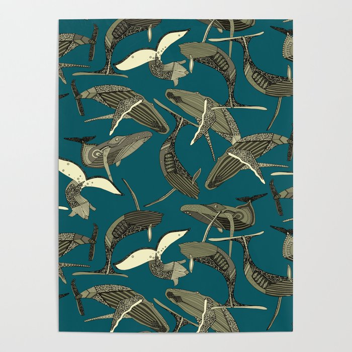 just whales blue Poster