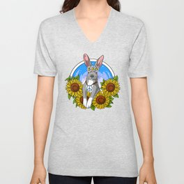 Hippie Bunny Unisex V-Neck