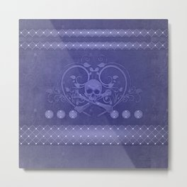Skull with floral elements Metal Print