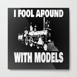 Model Train Railway Steam Metal Print