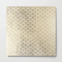 Elegant chic faux gold white japanese wave scallop pattern Metal Print