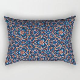 Beautiful Blue and Orange Beadwork Inspired Print Rectangular Pillow