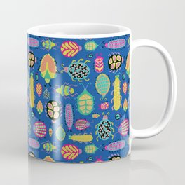 Tropical colorful bugs on a blue background pattern Coffee Mug