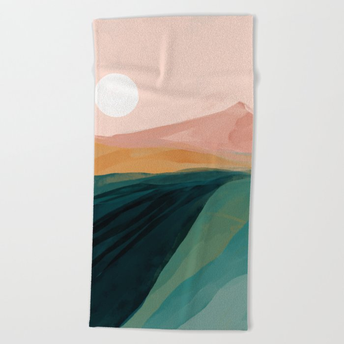 pink, green, gold moon watercolor mountains Beach Towel