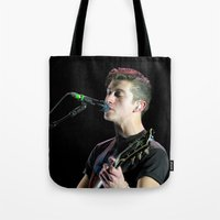 arctic monkeys Tote Bags featuring Alex Turner // Arctic Monkeys by Hattie Trott