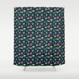 Colorful bunnies on navy background Shower Curtain