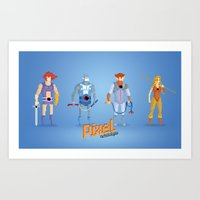 thundercats Art Prints featuring Thundercats - Pixel Nostalgia  by Boo! Studio