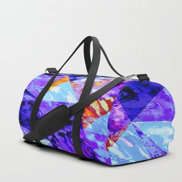 vintage psychedelic geometric triangle polygon pattern abstract in purple blue orange Duffle Bag