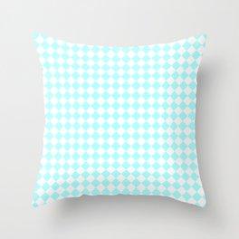 Small Diamonds - White and Celeste Cyan Throw Pillow