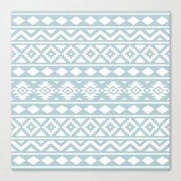Aztec Essence Ptn III White on Duck Egg Blue Canvas Print